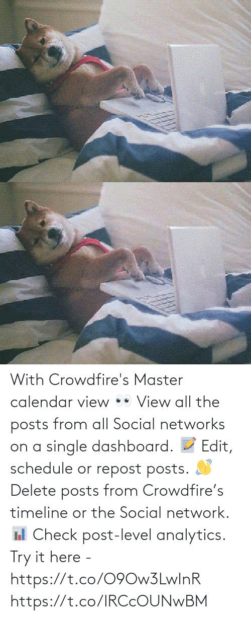 Posts: With Crowdfire's Master calendar view 👀 View all the posts from all Social networks on a single dashboard. 📝 Edit, schedule or repost posts. 👋 Delete posts from Crowdfire's timeline or the Social network. 📊 Check post-level analytics.  Try it here - https://t.co/O9Ow3LwInR https://t.co/IRCcOUNwBM
