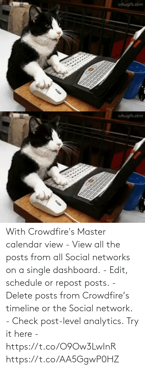 Single: With Crowdfire's Master calendar view - View all the posts from all Social networks on a single dashboard. - Edit, schedule or repost posts. - Delete posts from Crowdfire's timeline or the Social network. - Check post-level analytics.  Try it here - https://t.co/O9Ow3LwInR https://t.co/AA5GgwP0HZ