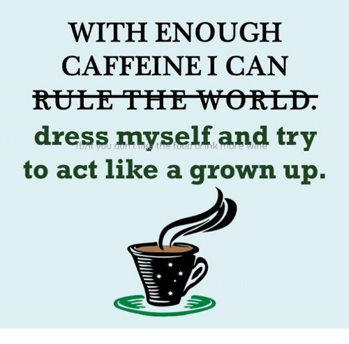 Memes, Dress, and World: WITH ENOUGH  CAFFEINE I CAN  RULE TIHE WORLD.  dress myself and try  to act like a grown up.