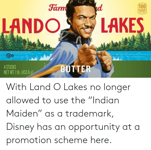 "Opportunity: With Land O Lakes no longer allowed to use the ""Indian Maiden"" as a trademark, Disney has an opportunity at a promotion scheme here."