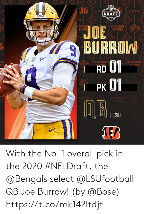 bose: With the No. 1 overall pick in the 2020 #NFLDraft, the @Bengals select @LSUfootball QB Joe Burrow! (by @Bose) https://t.co/mk142Itdjt
