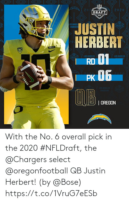 Select: With the No. 6 overall pick in the 2020 #NFLDraft, the @Chargers select @oregonfootball QB Justin Herbert!   (by @Bose) https://t.co/1VruG7eESb