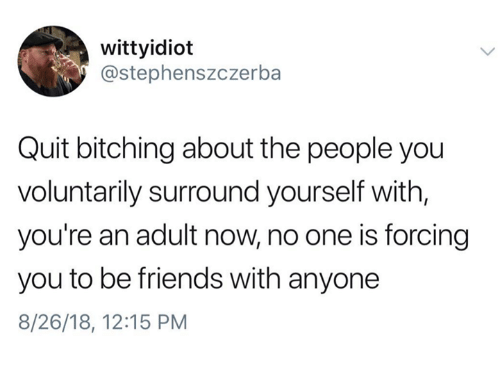 Friends, Humans of Tumblr, and One: wittyidioft  @stephenszczerba  Quit bitching about the people you  voluntarily surround yourself with,  you're an adult now, no one is forcing  you to be friends with anyone  8/26/18, 12:15 PM
