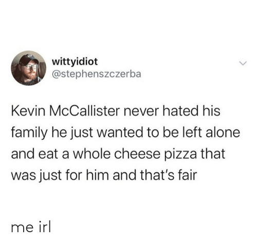 Being Alone, Family, and Pizza: wittyidiot  @stephenszczerba  Kevin McCallister never hated his  family he just wanted to be left alone  and eat a whole cheese pizza that  was just for him and that's fair me irl