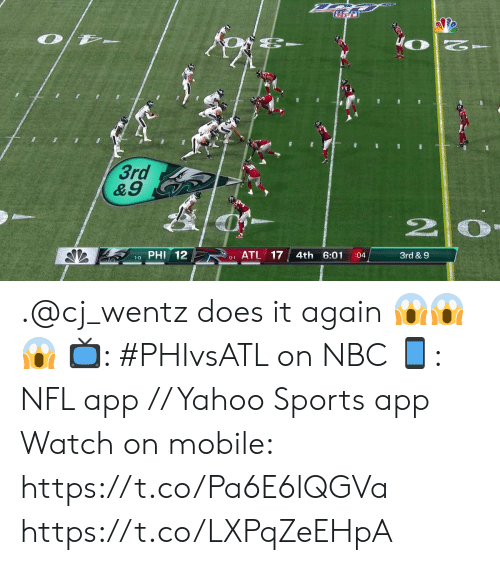 phi: WO  3rd  &9  PHI 12  ATL 17  4th 6:01  3rd & 9  :04  1-0  0-1 .@cj_wentz does it again 😱😱😱  📺: #PHIvsATL on NBC 📱: NFL app // Yahoo Sports app Watch on mobile: https://t.co/Pa6E6lQGVa https://t.co/LXPqZeEHpA
