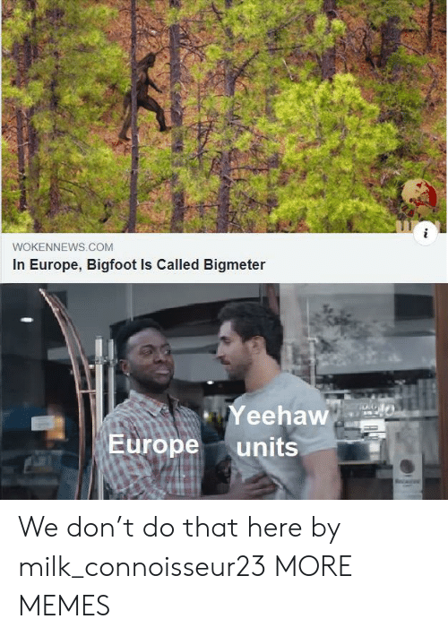 yeehaw: WOKENNEWS.COM  In Europe, Bigfoot Is Called Bigmeter  Yeehaw  Europe  units We don't do that here by milk_connoisseur23 MORE MEMES