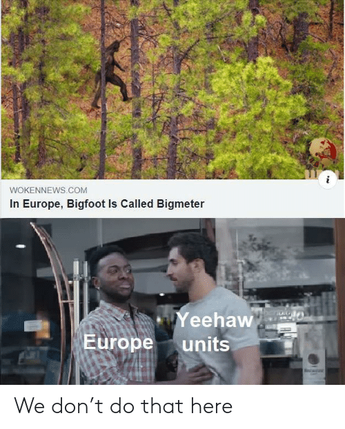 yeehaw: WOKENNEWS.COM  In Europe, Bigfoot Is Called Bigmeter  Yeehaw  Europe  units We don't do that here