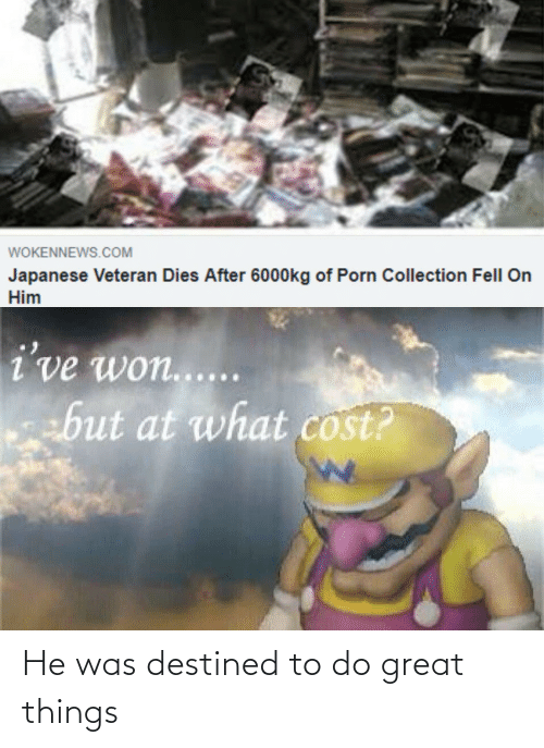 Collection: WOKENNEWS.COM  Japanese Veteran Dies After 6000kg of Porn Collection Fell On  Him  i've won.....  but at what cost? He was destined to do great things