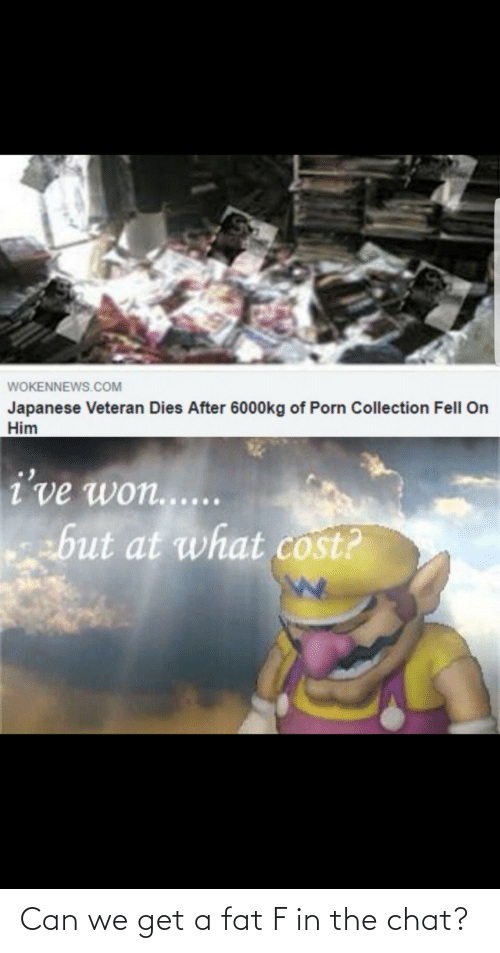 Collection: WOKENNEWS.COM  Japanese Veteran Dies After 6000kg of Porn Collection Fell On  Him  i've won......  ebut at what cost? Can we get a fat F in the chat?