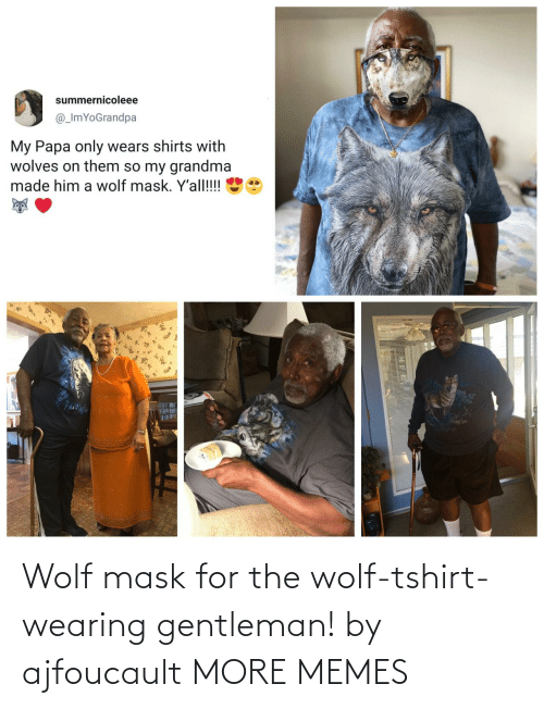 Mask: Wolf mask for the wolf-tshirt-wearing gentleman! by ajfoucault MORE MEMES