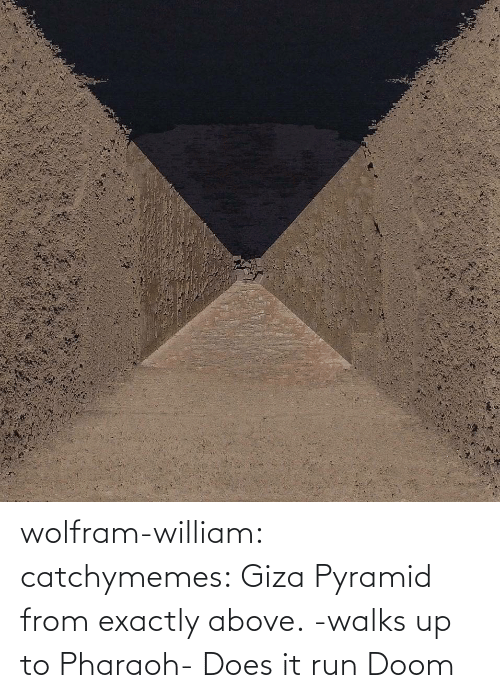 Above: wolfram-william: catchymemes: Giza Pyramid from exactly above.    -walks up to Pharaoh- Does it run Doom