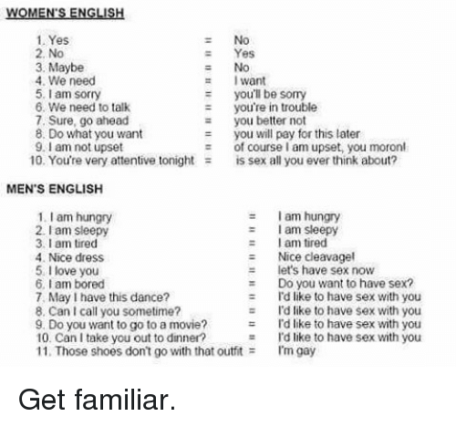 attentive: WOMEN ENGLISH  1. Yes  2, No  Yes  3, Maybe  4. We need  want  5. am sorry  you'll be somy  you're in trouble  6. We need to talk  7, Sure, go ahead  you better not  8. Do what you want  you will pay for this later  9.I am not upset  10. You're very attentive tonight  is sex all you ever think about?  MEN'S ENGLISH  1 lam hungry  I am hungry  I am sleepy  2 sleepy  lam I am tired  4. Nice dress  Nice cleavagel  et's have sex now  5, I love you  6, am bored  Do you want to have sex?  7, May have this dance?  Id like to have sex with you  8, Can call you sometime?  I'd like to have sex with you  9. Do you want to go to a movie?  I'd like to have sex with you  10. Can I take you out to dinner  I'd like to have sex with you  11. Those shoes don't go with that outfit  I'm gay Get familiar.