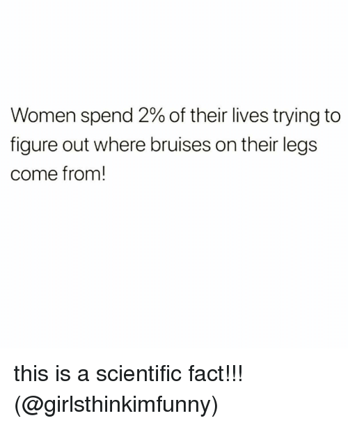 Memes, Women, and 🤖: Women spend 2% of their lives trying to  figure out where bruises on their legs  come from! this is a scientific fact!!! (@girlsthinkimfunny)