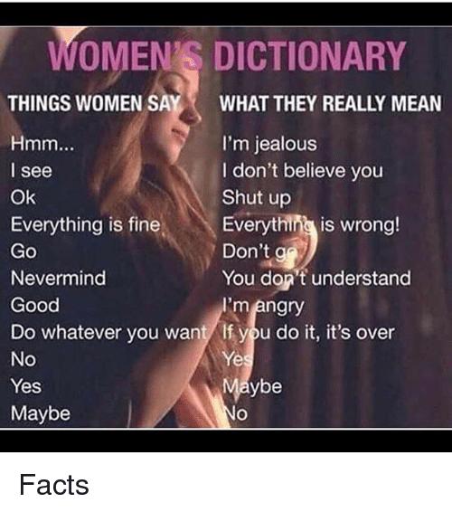 What does a woman mean when she says fine