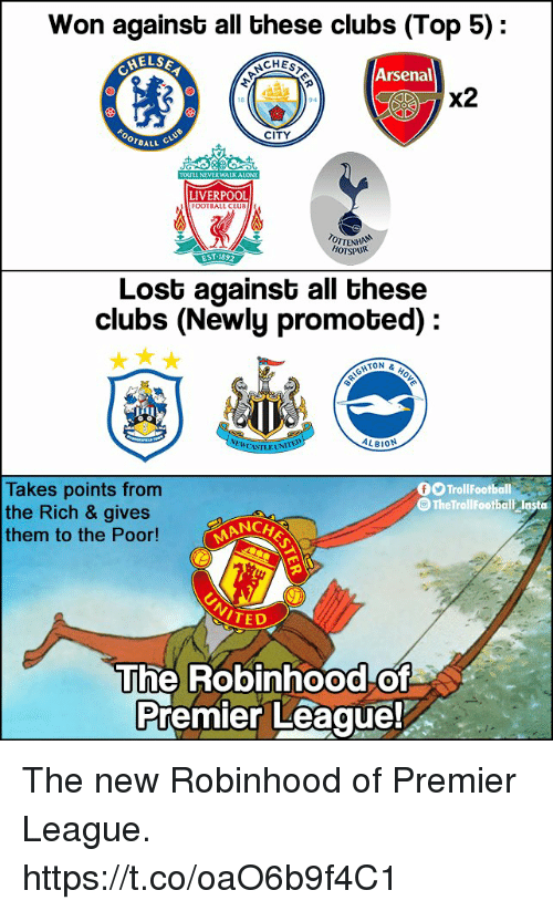 Arsenal, Memes, and Premier League: Won againsb all bhese clubs (Top 5):  ELS  CHEST  Arsenal  X2  CITY  OTBALL  LIVERPOOL  TALI CLU  ENT  HOTSPUR  Lost against all these  clubs (Newly promoted):  He  ON &  ALBION  Takes points from  the Rich & gives  them to the Poor!  fO TrollFootball  The TrollFootbalt losta  MANCA  TED  The Robinhood of  Premier Leaque! The new Robinhood of Premier League. https://t.co/oaO6b9f4C1