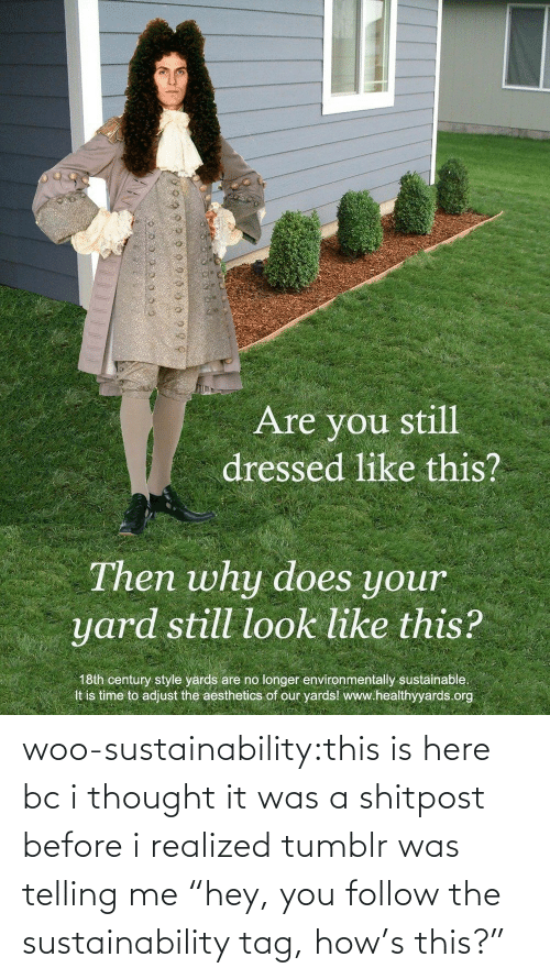 "tag: woo-sustainability:this is here bc i thought it was a shitpost before i realized tumblr was telling me ""hey, you follow the sustainability tag, how's this?"""