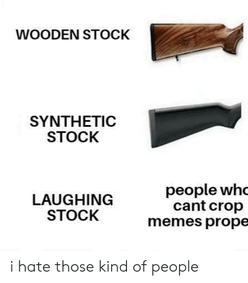 stock: WOODEN STOCK  SYNTHEΤIC  STOCK  people whc  cant crop  memes prope  LAUGHING  STOCK i hate those kind of people