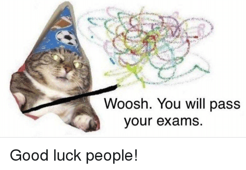 Good, Luck, and Will: Woosh. You will pass  our exams Good luck people!