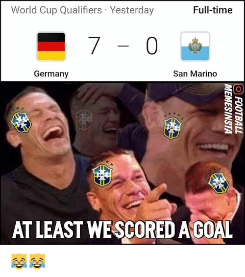 World Cup Qualifiers: World Cup Qualifiers Yesterday  Full-time  Germany  San Marino  AT LEAST WESCOREDAGOAL 😹😹