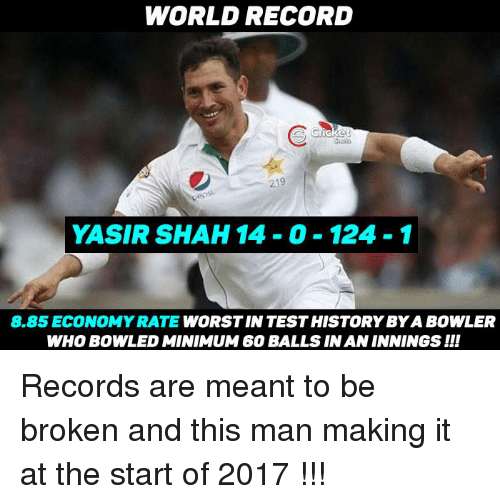Rateing: WORLD RECORD  219  YASIR SHAH 14 0 124-1  8.85 ECONOMY RATE  WORSTIN TESTHISTORYBYA BOWLER  WHOBOWLED MINIMUM 60 BALLS IN AN INNINGS II! Records are meant to be broken and this man making it at the start of 2017 !!!