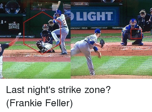 Franky: WORLD  SERIES  FIELD  INDIANS COH  LIGHT  PROGICS  XCRESSIVE FIELD Last night's strike zone? (Frankie Feller)