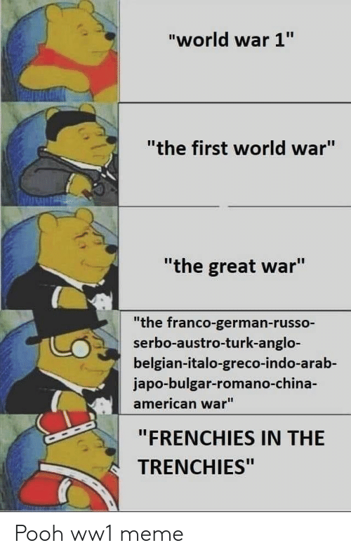 """Russo: """"world war 1""""  """"the first world war""""  """"the great war""""  """"the franco-german-russo-  serbo-austro-turk-anglo-  belgian-italo-greco-indo-arab-  japo-bulgar-romano-ch  american war""""  """"FRENCHIES IN THE  TRENCHIES"""" Pooh ww1 meme"""