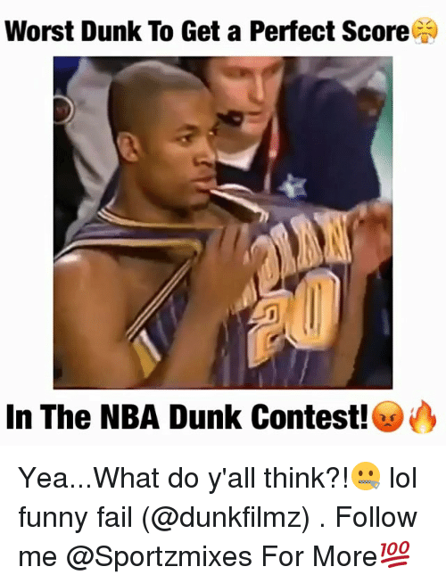 Lol Funny: Worst Dunk To Get a Perfect Score  In The NBA Dunk Contest!es Yea...What do y'all think?!🤐 lol funny fail (@dunkfilmz) . Follow me @Sportzmixes For More💯