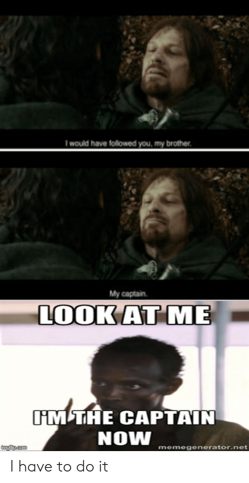 Lord of the Rings, Net, and Brother: would have followed you, my brother  My captain  LOOK AT ME  IM THE CAPTAIN  NOW  imgfip.com  memegenerator.net I have to do it