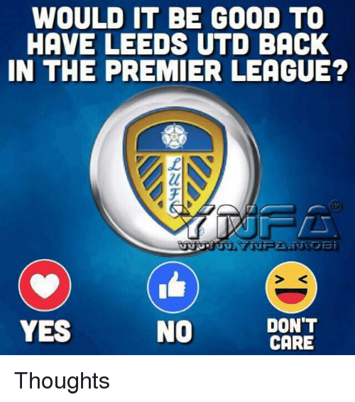 Memes, Premier League, and Good: WOULD IT BE GOOD TO  HAVE LEEDS UTD BACK  IN THE PREMIER LEAGUE?  S <  YES  NO  DON'T  CARE Thoughts