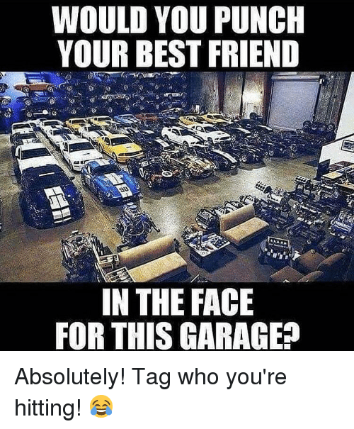 Best Friend, Memes, and Best: WOULD YOU PUNCH  YOUR BEST FRIEND  IN THE FACIE  FOR THIS GARAGEE Absolutely! Tag who you're hitting! 😂