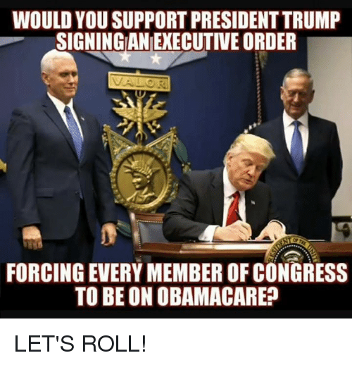 lets roll: WOULD YOU SUPPORT PRESIDENT TRUMP  SIGNINGAN EXECUTIVE ORDER  FORCING EVERY MEMBER OF CONGRESS  TO BE ON OBAMACARE? LET'S ROLL!