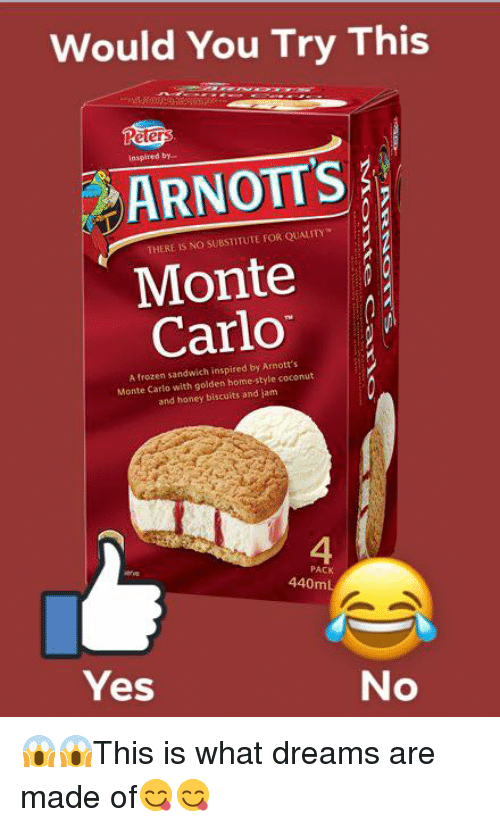 Monte Carlo: Would You Try This  IS  inspired by..  ARNOTT'S  THERE IS NO SUBSTITUTE FOR QUALITY  Monte  Carlo  A frozen sandwich inspired by Arnott's  Monte Carlo with golden home-style coconut  and honey biscuits and jam  4  PACK  440mL  Yes  No 😱😱This is what dreams are made of😋😋