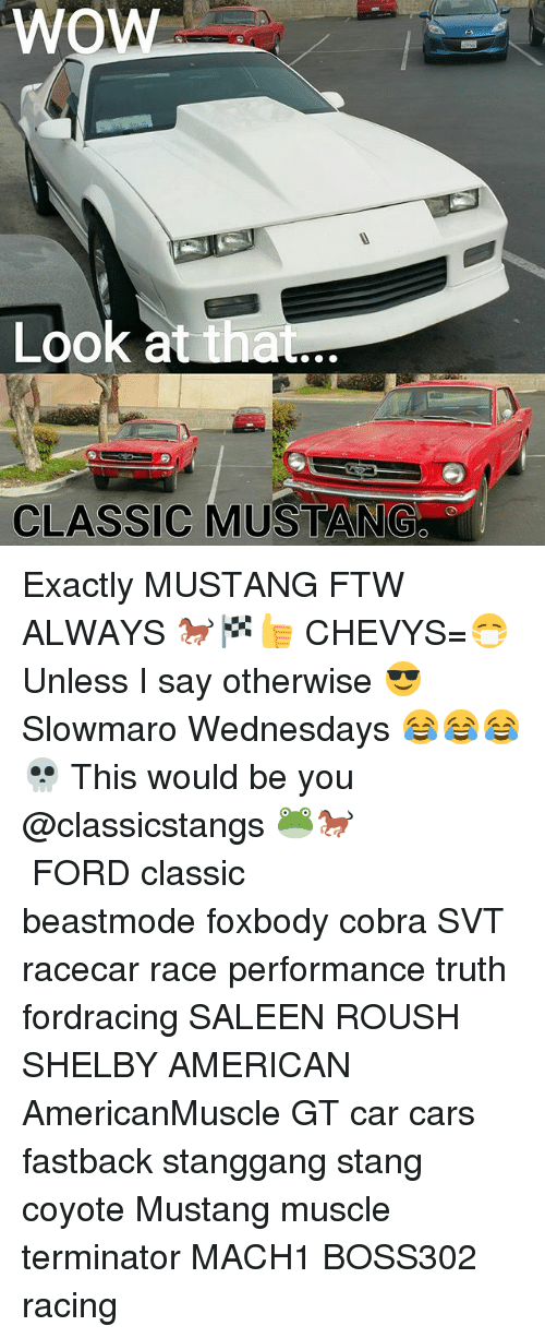 Cars, Ftw, and Memes: Wow  Look at  that  CLASSIC MUSTANG Exactly MUSTANG FTW ALWAYS 🐎🏁👍 CHEVYS=😷 Unless I say otherwise 😎 Slowmaro Wednesdays 😂😂😂💀 This would be you @classicstangs 🐸🐎 ■■■■■■■■■■■■■■■■■■■■■■■■■ FORD classic beastmode foxbody cobra SVT racecar race performance truth fordracing SALEEN ROUSH SHELBY AMERICAN AmericanMuscle GT car cars fastback stanggang stang coyote Mustang muscle terminator MACH1 BOSS302 racing