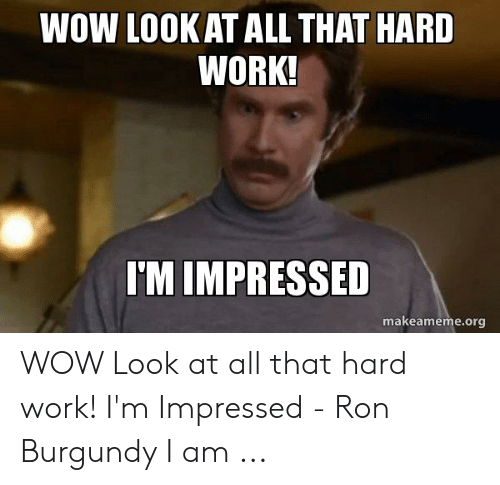 Hard Work Meme: WOW LOOKAT ALL THAT HARD  WORK!  I'M IMPRESSED  makeameme.org WOW Look at all that hard work! I'm Impressed - Ron Burgundy I am ...