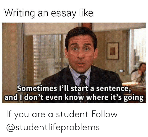 Writing An Essay: Writing an essay like  Sometimes I'll start a sentence,  and I don't even know where it's going If you are a student Follow @studentlifeproblems