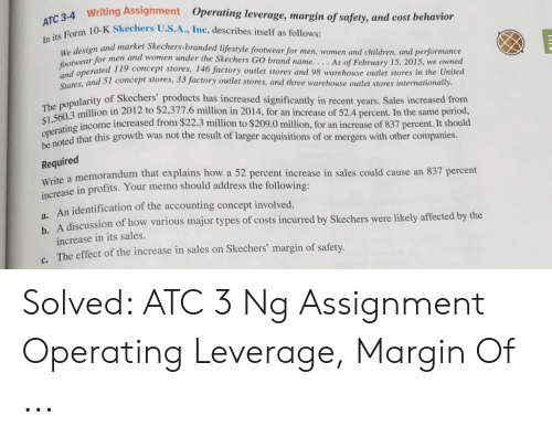 Solved: ATC 3 Ng Assignment Operating Leverage, Margin Of