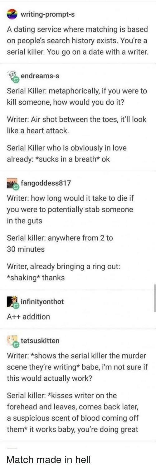 Dating, Love, and Work: writing-prompt-s  A dating service where matching is based  on people's search history exists. You're a  serial killer. You go on a date with a writer.  endreams-s  Serial Killer: metaphorically, if you were to  kill someone, how would you do it?  Writer: Air shot between the toes, it'll look  like a heart attack.  Serial Killer who is obviously in love  already: *sucks in a breath* ok  fangoddess817  Writer: how long would it take to die if  you were to potentially stab someone  in the guts  Serial killer: anywhere from 2 to  30 minutes  Writer, already bringing a ring out:  *shaking* thanks  infinityonthot  A++ addition  tetsuskitten  Writer: *shows the serial killer the murder  scene they're writing* babe, i'm not sure if  this would actually work?  Serial killer: *kisses writer on the  forehead and leaves, comes back later,  a suspicious scent of blood coming off  them*  it works baby, you're doing great Match made in hell