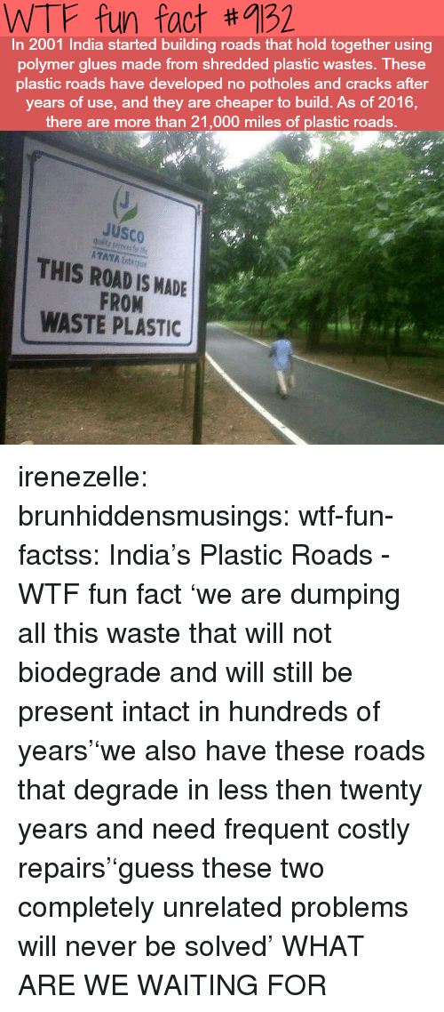 Frequent: WTF fun fact #9132  In 2001 India started building roads that hold together using  polymer glues made from shredded plastic wastes. These  plastic roads have developed no potholes and cracks after  years of use, and they are cheaper to build. As of 2016,  there are more than 21,000 miles of plastic roads.  JuSCO  ATAYA Enter  THIS ROAD IS MADE  FROM  WASTE PLASTIC irenezelle: brunhiddensmusings:  wtf-fun-factss: India's Plastic Roads - WTF fun fact 'we are dumping all this waste that will not biodegrade and will still be present intact in hundreds of years''we also have these roads that degrade in less then twenty years and need frequent costly repairs''guess these two completely unrelated problems will never be solved'  WHAT ARE WE WAITING FOR