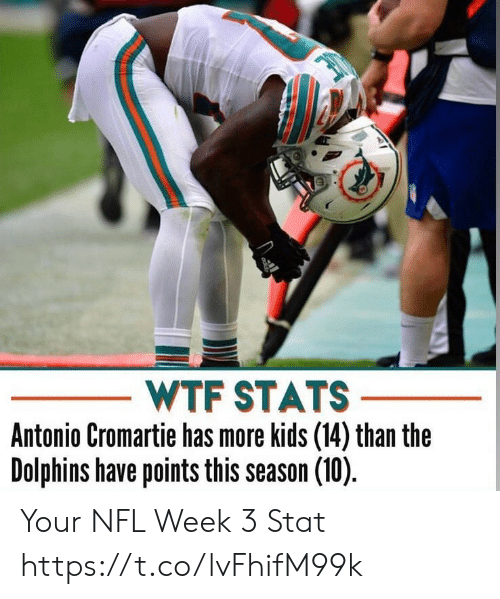 Antonio: WTF STATS  Antonio Cromartie has more kids (14) than the  Dolphins have points this season (10) Your NFL Week 3 Stat https://t.co/lvFhifM99k