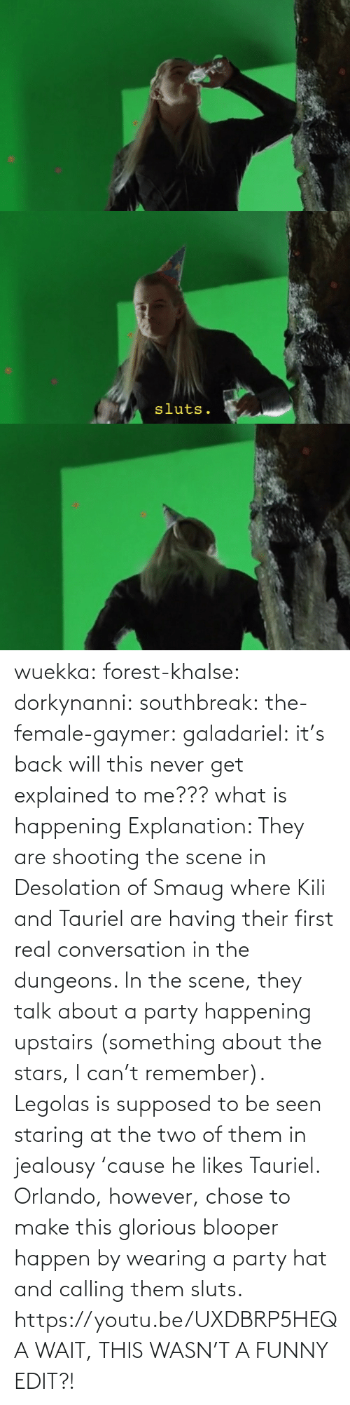 i can: wuekka: forest-khalse:   dorkynanni:  southbreak:   the-female-gaymer:   galadariel:  it's back   will this never get explained to me???    what is happening    Explanation:  They are shooting the scene in Desolation of Smaug where Kili and Tauriel are having their first real conversation in the dungeons.  In the scene, they talk about a party happening upstairs (something about the stars, I can't remember). Legolas is supposed to be seen staring at the two of them in jealousy 'cause he likes Tauriel.  Orlando, however, chose to make this glorious blooper happen by wearing a party hat and calling them sluts.    https://youtu.be/UXDBRP5HEQA    WAIT, THIS WASN'T A FUNNY EDIT?!