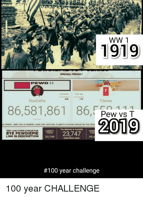 Anaconda, Link, and Today: WW 1  1919  WHO WILL PREVAIL  0e  PewDiePie  T-Series  86,581,861  86,FpaNve구  The takeover is ourment  VISIT OU OTHE STREAM FOR  BYE PEWDIEPIE  LINK IN DESCRIPTION  2.374  TODAY  ToD  23,749  25,4  #100 year challenge