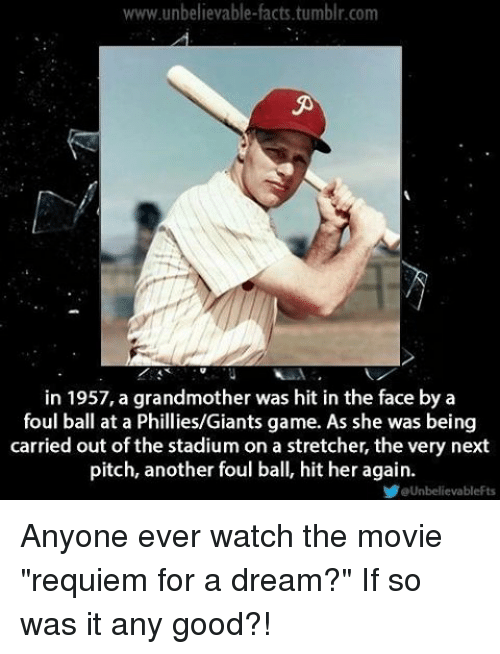 "A Dream, Facts, and Memes: www.unbelievable-facts.tumblr.com  in 1957, a grandmother was hit in the face by a  foul ball at a Phillies/Giants game. As she was being  carried out of the stadium on a stretcher, the very next  pitch, another foul ball, hit her again.  eUnbelievableFts Anyone ever watch the movie ""requiem for a dream?"" If so was it any good?!"