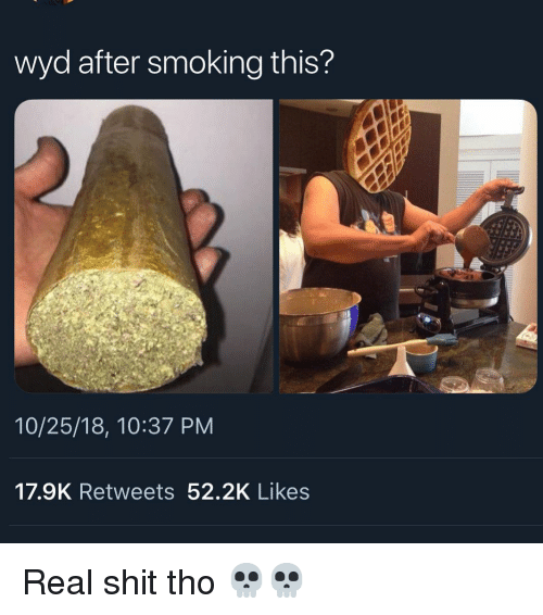 Memes, Shit, and Smoking: wyd after smoking this?  10/25/18, 10:37 PM  17.9K Retweets 52.2K Likes Real shit tho 💀💀