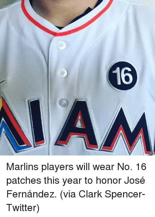 Marlin: WYN Marlins players will wear No. 16 patches this year to honor José Fernández. (via Clark Spencer-Twitter)