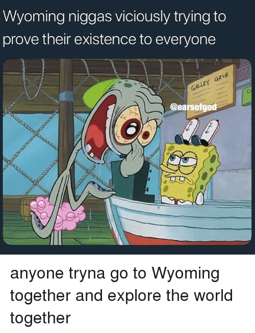 World, Dank Memes, and Wyoming: Wyoming niggas viciously trying to  prove their existence to everyone  GALLEY aRuB  @earsofgod anyone tryna go to Wyoming together and explore the world together