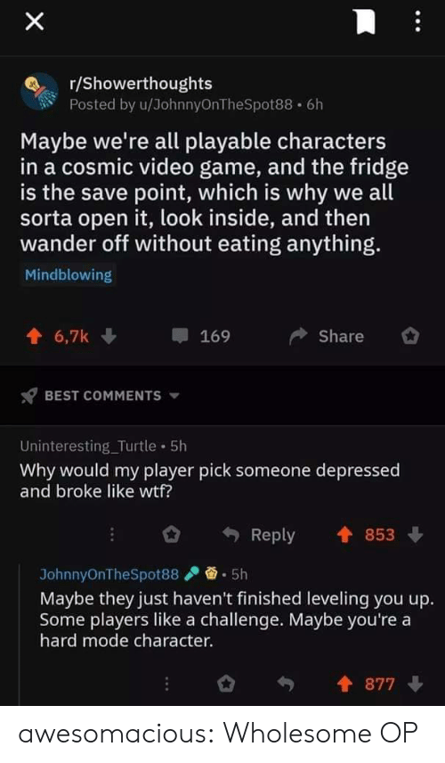 Tumblr, Wtf, and Best: X  r/Showerthoughts  Posted by u/JohnnyOnTheSpot88 6h  Maybe we're all playable characters  in a cosmic video game, and the fridge  is the save point, which is why we all  sorta open it, look inside, and then  wander off without eating anything.  Mindblowing  6,7k  Share  169  BEST COMMENTS  Uninteresting_Turtle 5h  Why would my player pick someone depressed  and broke like wtf?  853  Reply  5h  JohnnyOnTheSpot88  Maybe they just haven't finished leveling you up.  Some players like a challenge. Maybe you're a  hard mode character.  877 awesomacious:  Wholesome OP