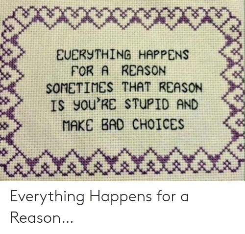 Bad, Reason, and Make: X*wwx  EUERYTHING HAPPENS  FOR A REASON  SOMETIMES THAT REASON  IS yOu'RE STUPID AND  MAKE BAD CHOICES Everything Happens for a Reason…
