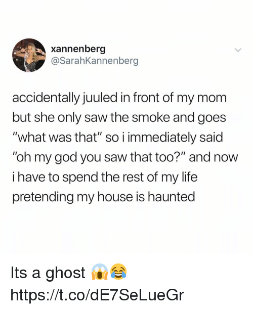 """God, Life, and My House: xannenberg  @SarahKannenberg  accidentally juuled in front of my mom  but she only saw the smoke and goes  """"what was that"""" so i immediately said  """"oh my god you saw that too?"""" and now  i have to spend the rest of my life  pretending my house is haunted Its a ghost 😱😂 https://t.co/dE7SeLueGr"""
