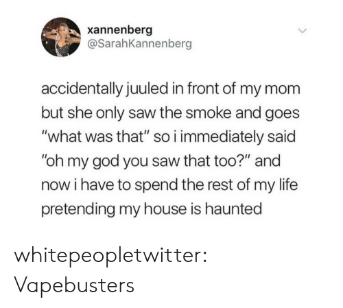 """God, Life, and My House: xannenberg  @SarahKannenberg  accidentally juuled in front of my mom  but she only saw the smoke and goes  """"what was that"""" so i immediately said  """"oh my god you saw that too?"""" and  now i have to spend the rest of my life  pretending my house is haunted whitepeopletwitter:  Vapebusters"""