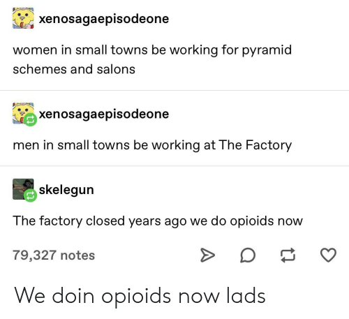 Women, Working, and Towns: xenosagaepisodeone  women in small towns be working for pyramid  schemes and salons  xenosagaepisodeone  men in small towns be working at The Factory  skelegun  The factory closed years ago we do opioids now  O  79,327 notes We doin opioids now lads